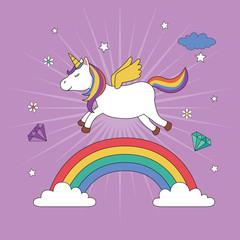 Unicorn flying over the rainbow