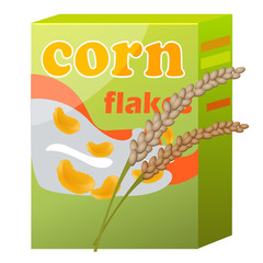 Corn Flakes Paper Packaging Isolated on White