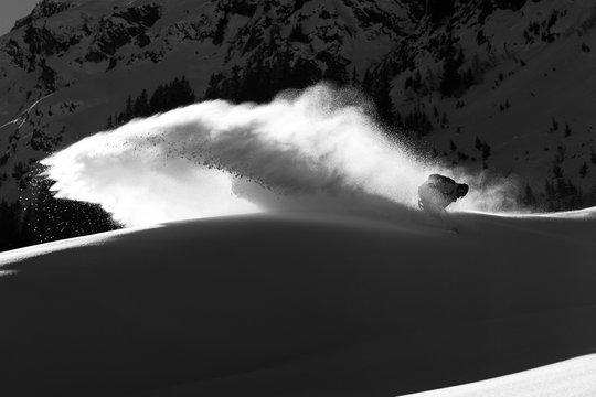 Snowboard powder turn