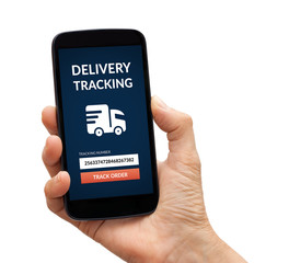 Hand holding a phone with delivery tracking concept on screen. Isolated on white background. All screen content is designed by me.