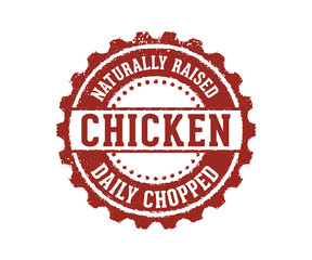 naturally raised daily chopped chicken product sign stamp label