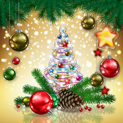Abstract greeting with tree and Christmas decorations