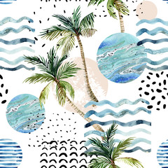 Photo sur Aluminium Empreintes Graphiques Art illustration with palm tree, doodle and marble grunge textures.