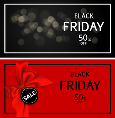 Decorative black friday sale banners with discount tag and red bow. Vector template.