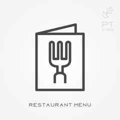 Line icon restaurant menu