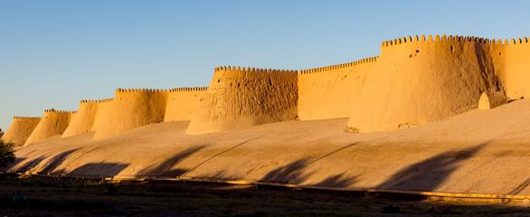 Sunset on city wall of Ichan Kala - Khiva, Uzbekistan