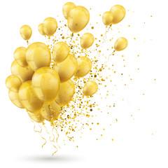 Goldene Luftballons mit Konfetti