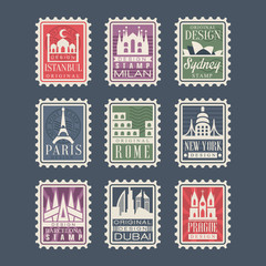 Collection of stamps from different countries with architectural landmarks, vector Illustrations, city stamps with symbols