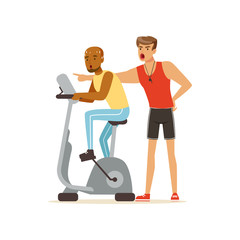 Professional fitness coach and man working out on exercise bike, people exercising under control of personal trainer vector Illustration