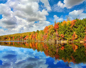 Landscape of autumn colored trees with reflection in Bays Mountain Lake in Kingsport, Tennessee