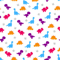 pattern of colorful dinosaurs