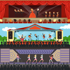 Concerts set with musicians and artists characters