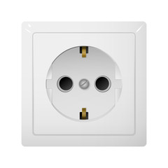 Single electrical socket Type F. Receptacle from Europe.