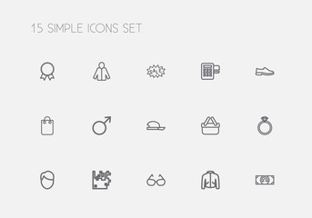 Set Of 15 Editable Business Outline Icons. Includes Symbols Such As Coat, Currency, Female Sign And More. Can Be Used For Web, Mobile, UI And Infographic Design.