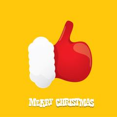vector funky cartoon Santa Claus like hand icon isolated on orange background . thumbs up santa hand symbol.