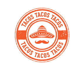 tacos food sign with mexico hat