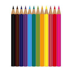 Set of 12 colored pencils isolated on a white background. Vector illustration