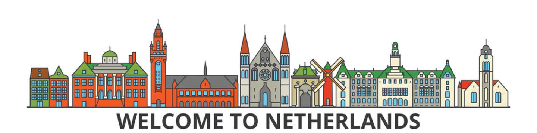 Netherlands outline skyline, dutch flat thin line icons, landmarks, illustrations. Netherlands cityscape, dutch vector travel city banner. Urban silhouette