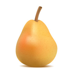 realistic 3d ripe yellow pear on a white background made with a gradient mesh