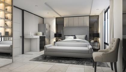 3d rendering modern luxury bedroom suite in hotel with decor