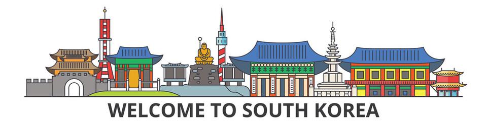 South Korea outline skyline, korean flat thin line icons, landmarks, illustrations. South Korea cityscape, korean vector travel city banner. Urban silhouette
