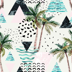 Wall Murals Graphic Prints Art illustration with palm tree, doodle, marble, grunge textures, geometric shapes