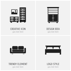 Set Of 4 Editable Furniture Icons. Includes Symbols Such As Cabinet, Davenport, Bearings And More. Can Be Used For Web, Mobile, UI And Infographic Design.