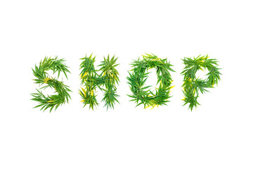 Word SHOP made from green cannabis leaves on a white background. Isolated