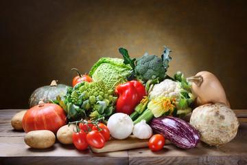 Fresh vegetables: pumpkin, pepper, broccoli, cabbage, aubergine, savoy, carrots, tomatoes, potatoes, garlic, onion, celeriac