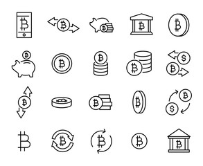 Simple collection of cryptocurrency related line icons.