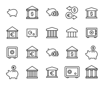 Premium set of bank line icons.