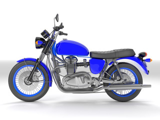 3d illustration of a blue black classic motorcycle isolated on white background.