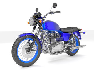 3d illustration of a blue classic motorcycle isolated on white background.