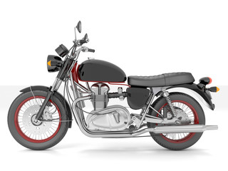 3d illustration of a red classic motorcycle isolated on white background.