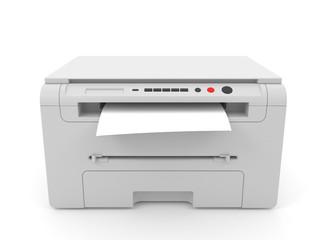 3d illustration of white inkjet printer for printing, isolated on white background