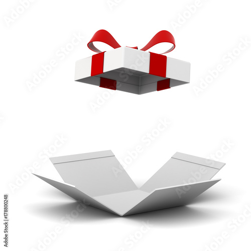 Open gift box present box with red ribbon bow isolated on white open gift box present box with red ribbon bow isolated on white background with shadow negle Gallery