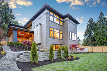 Wall Murals Dark grey Luxurious new construction home in Bellevue, WA.