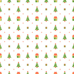 Christmas seamless pattern with Christmas tree and gift on white background. Vector background for wrapping paper or greeting cards