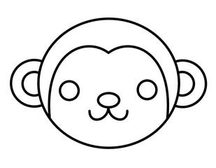サルの顔(線画)