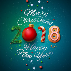 Merry Christmas and Happy New Year 2018 greeting card