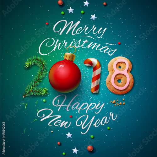 Merry Christmas and Happy New Year 2018 greeting card\