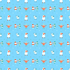 Cute Christmas seamless pattern with snowmans on blue ice. Vector background for wrapping paper or greeting cards