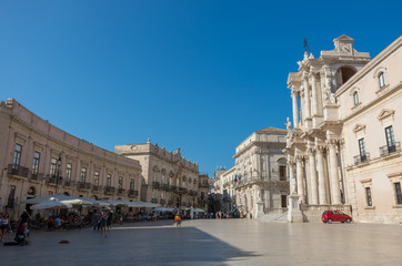 Baroque style Cathedral in piazza Duomo. Ortiga island, Syracuse city, in Sicily. The city is a historic town in Sicily, the capital of the province of Syracuse.