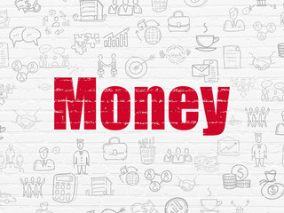 Business concept: Painted red text Money on White Brick wall background with  Hand Drawn Business Icons