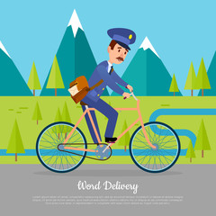 World Delivery Banner Postman. Mailman on Bicycle