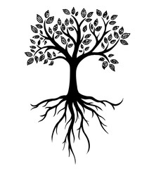 Tree silhouette with roots, real hand drawing. Vector Illustration