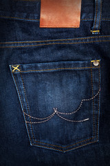 Denim jeans background with seam of jeans and pocket on jeans