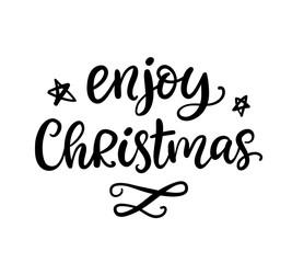 Enjoy Christmas phrase. Ink lettering