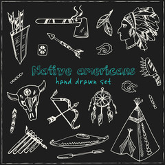 Hand drawn doodle native americans set.