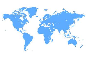 Spoed Foto op Canvas Wereldkaart Blue Vector World Map